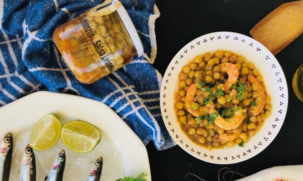 garbanzos-con-langostinos-salsa-de-anchoa-lahuertadefresno
